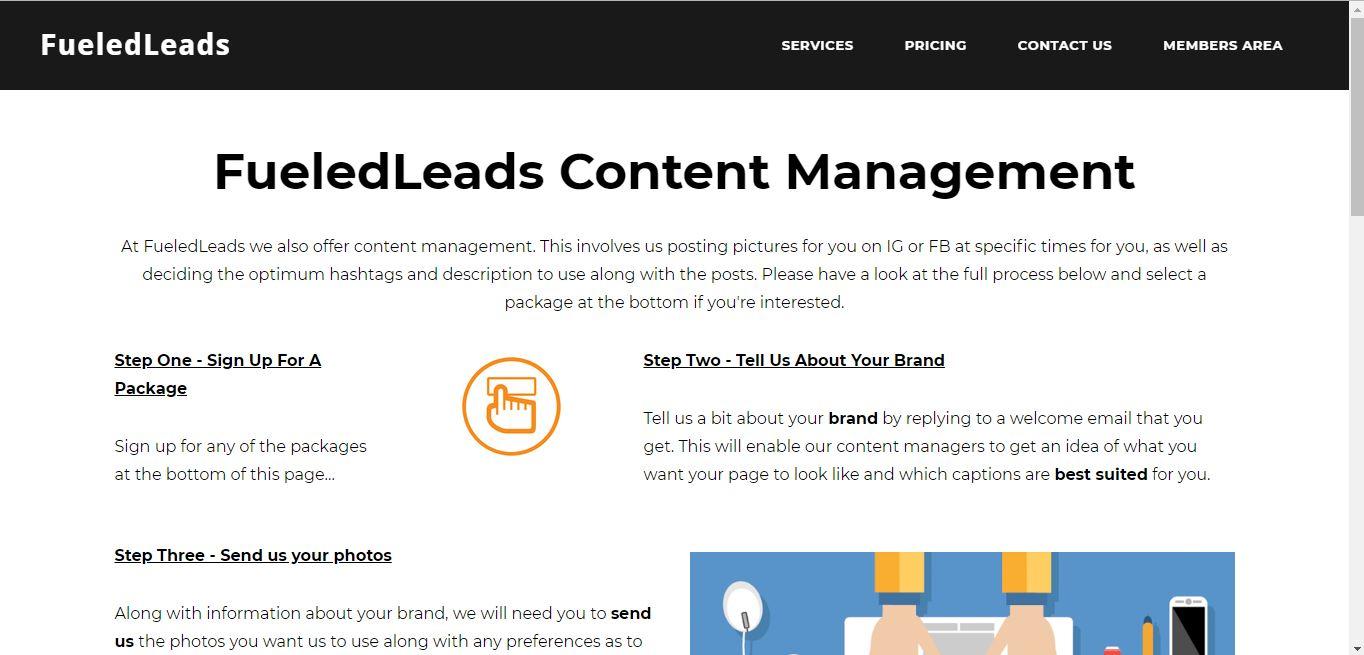 content management page