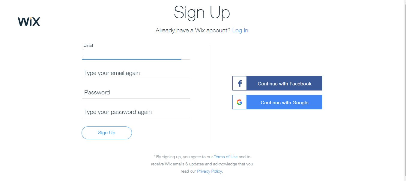 wix sign up