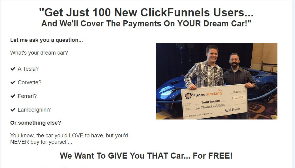 dream car for clickfunnels