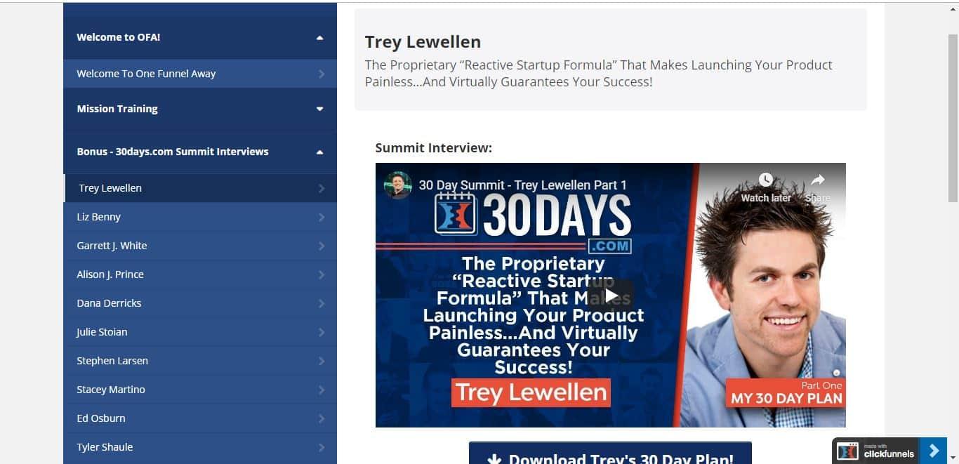 Trey Lewelllen 30 day summit interview for clickfunnels