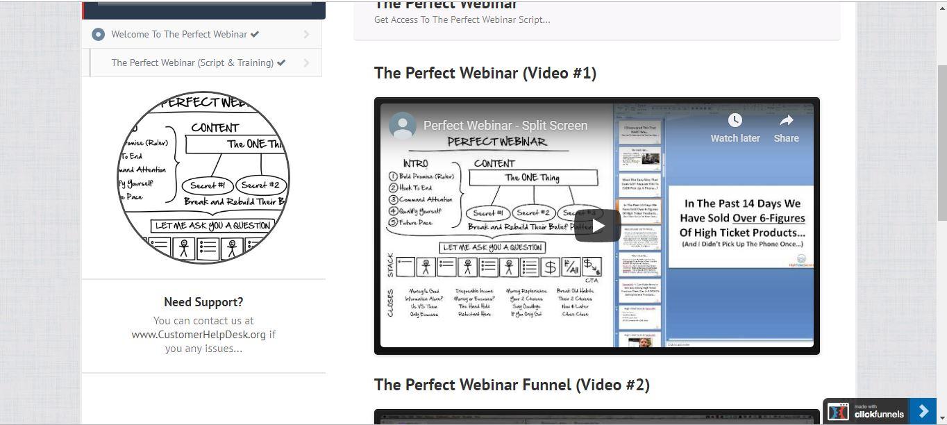 perfect webinar script for clickfunnels lesson videos