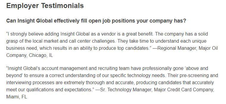 insight global employer testimonials