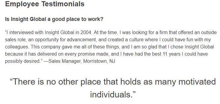insight global employee testimonials