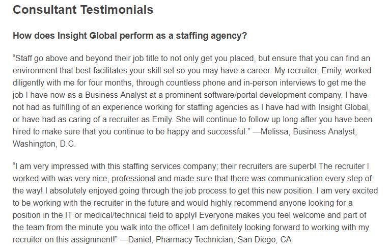 insight global consultant testimonials