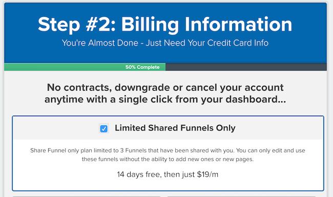 clickfunnels $19 shared funnel plan