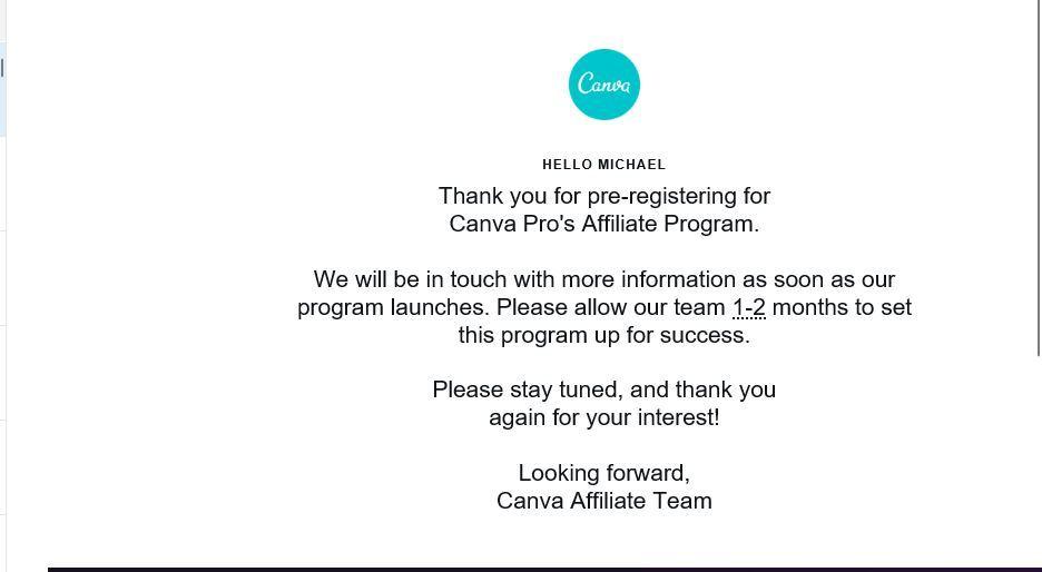 canva affiliate program registration email