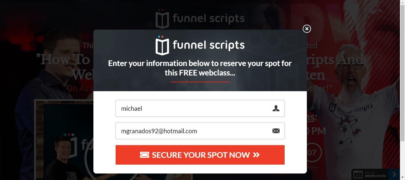 clickfunnels funnel scripts webinar registration