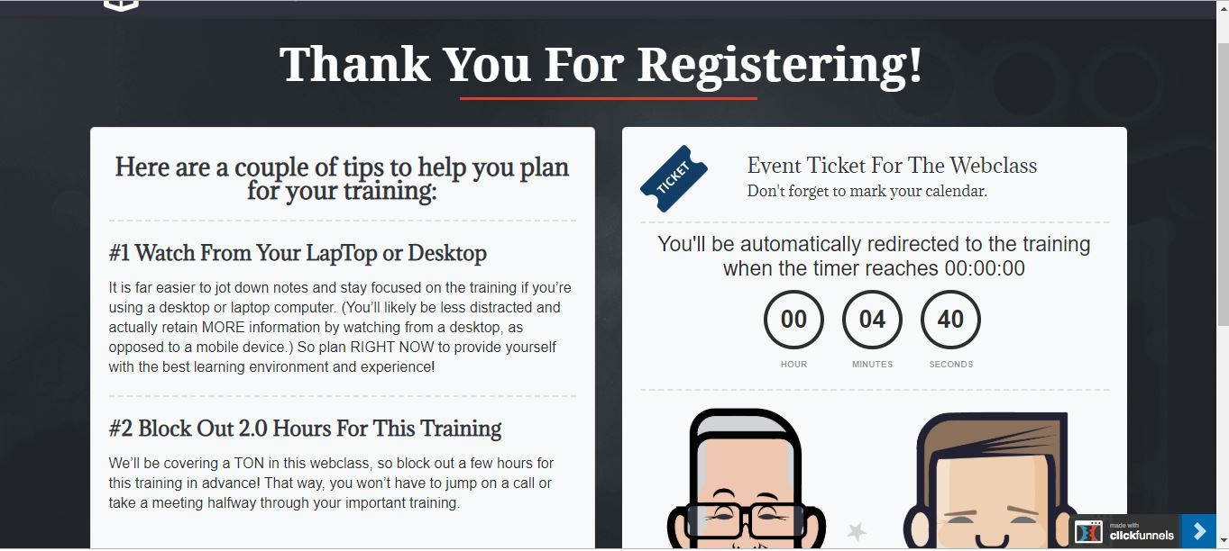 funnel scripts webinar thank you page