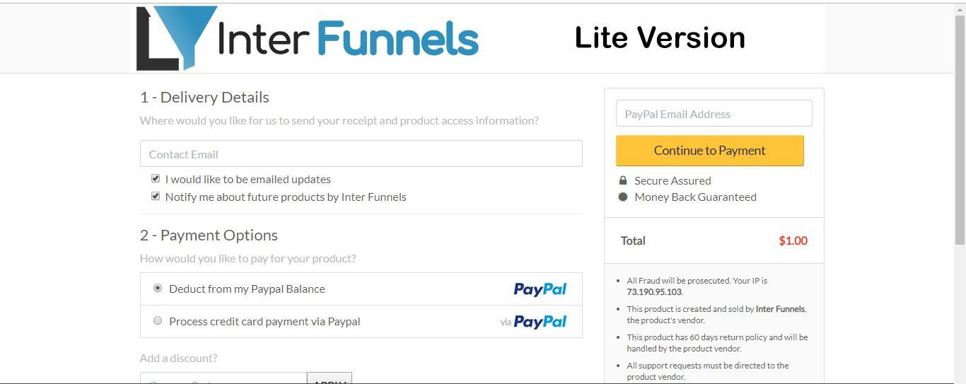interfunnels liteplan checkout