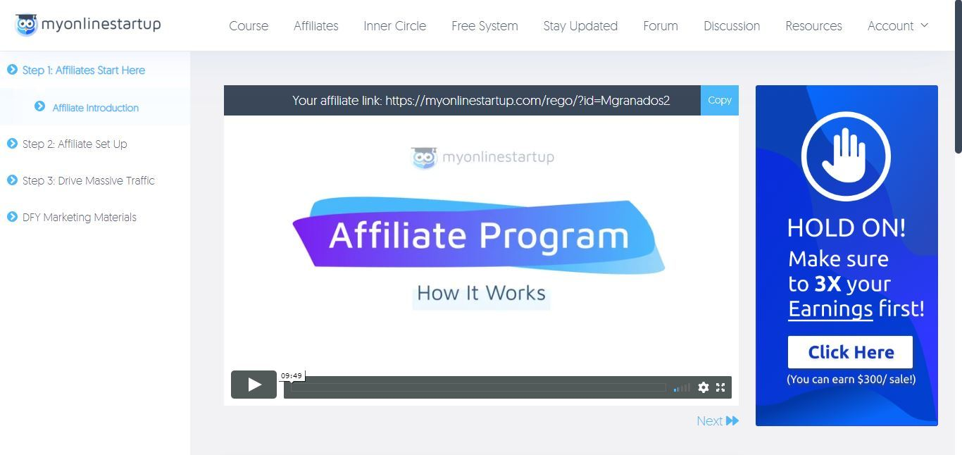 my online startup affiliate