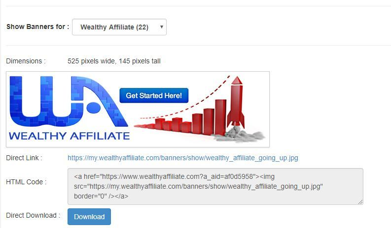wealthy affiliate banner links