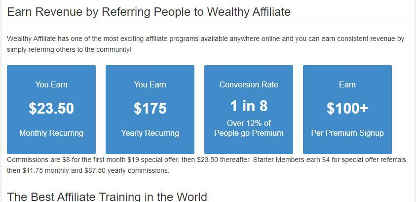wealthy affiliate earnings affiliate