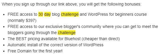 30 day challenge bonuses sign up
