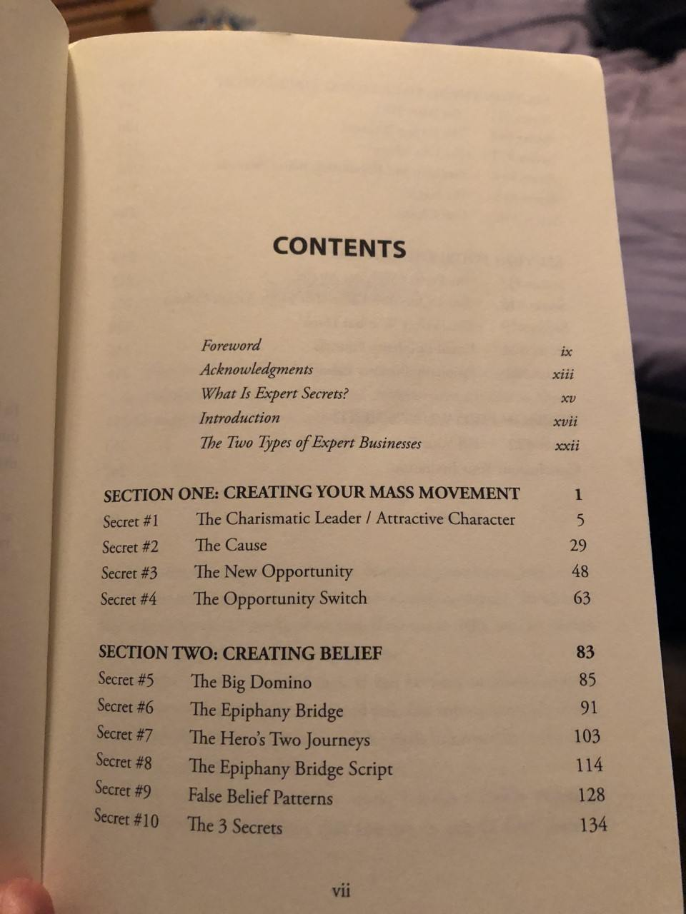 expert secrets table of contents