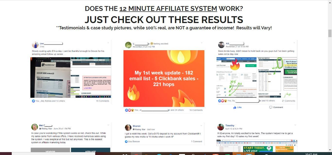 12 minute affiliate testimonials