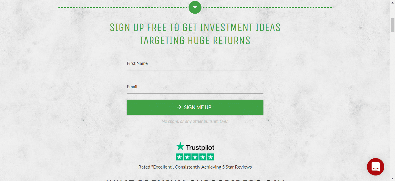 investment sign up