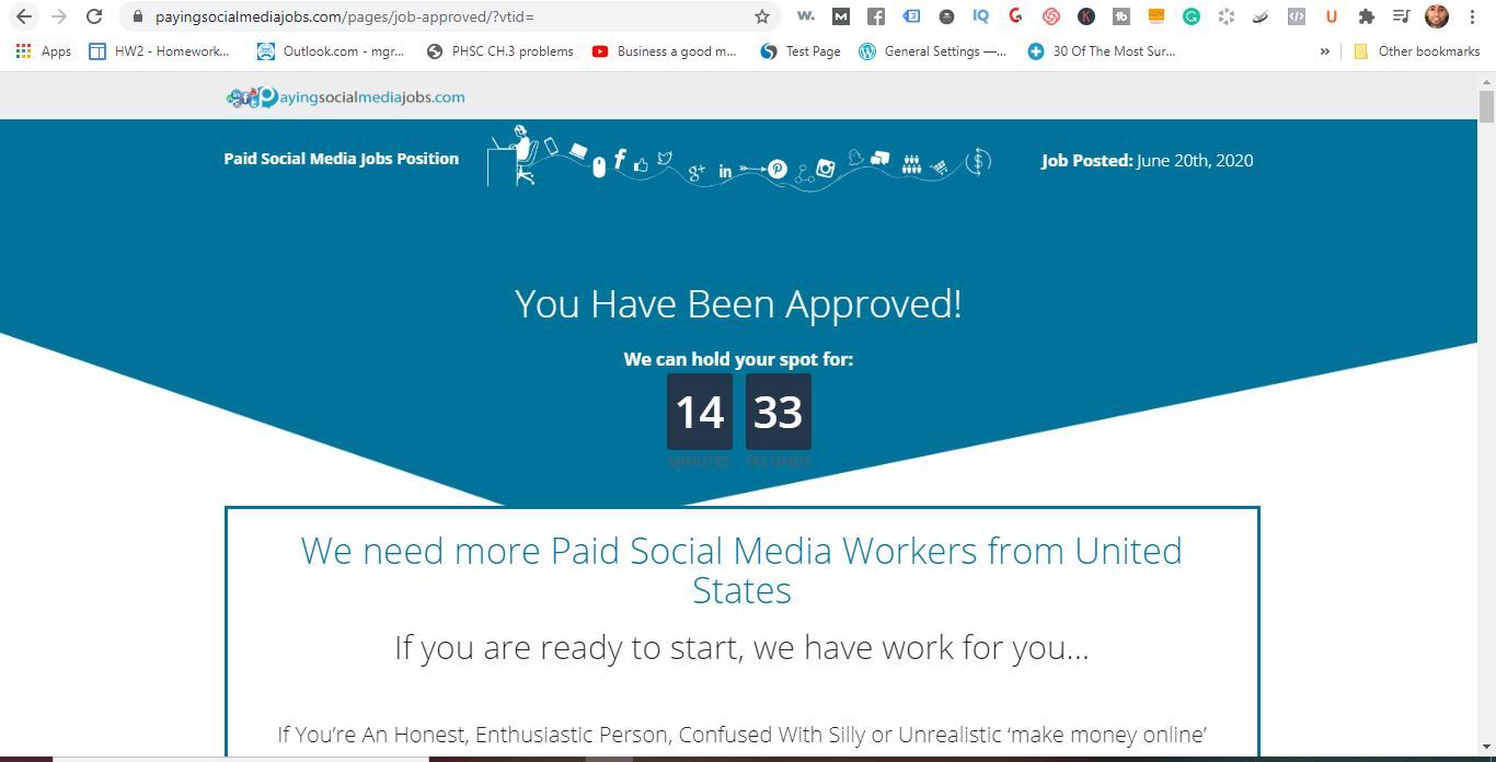 paid social media jobs approval page