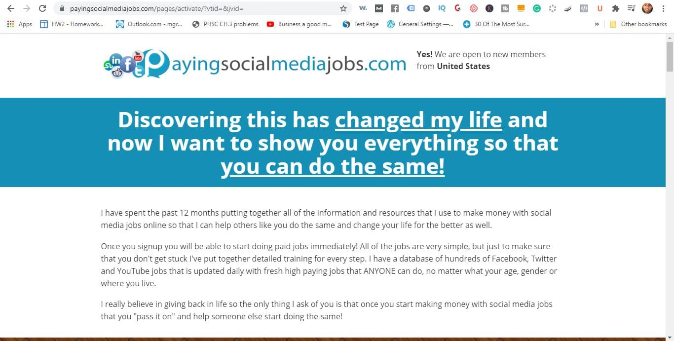 paid social media jobs sales page