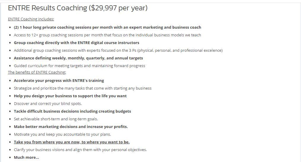 ENTRE Results Coaching ($29,997 per year)