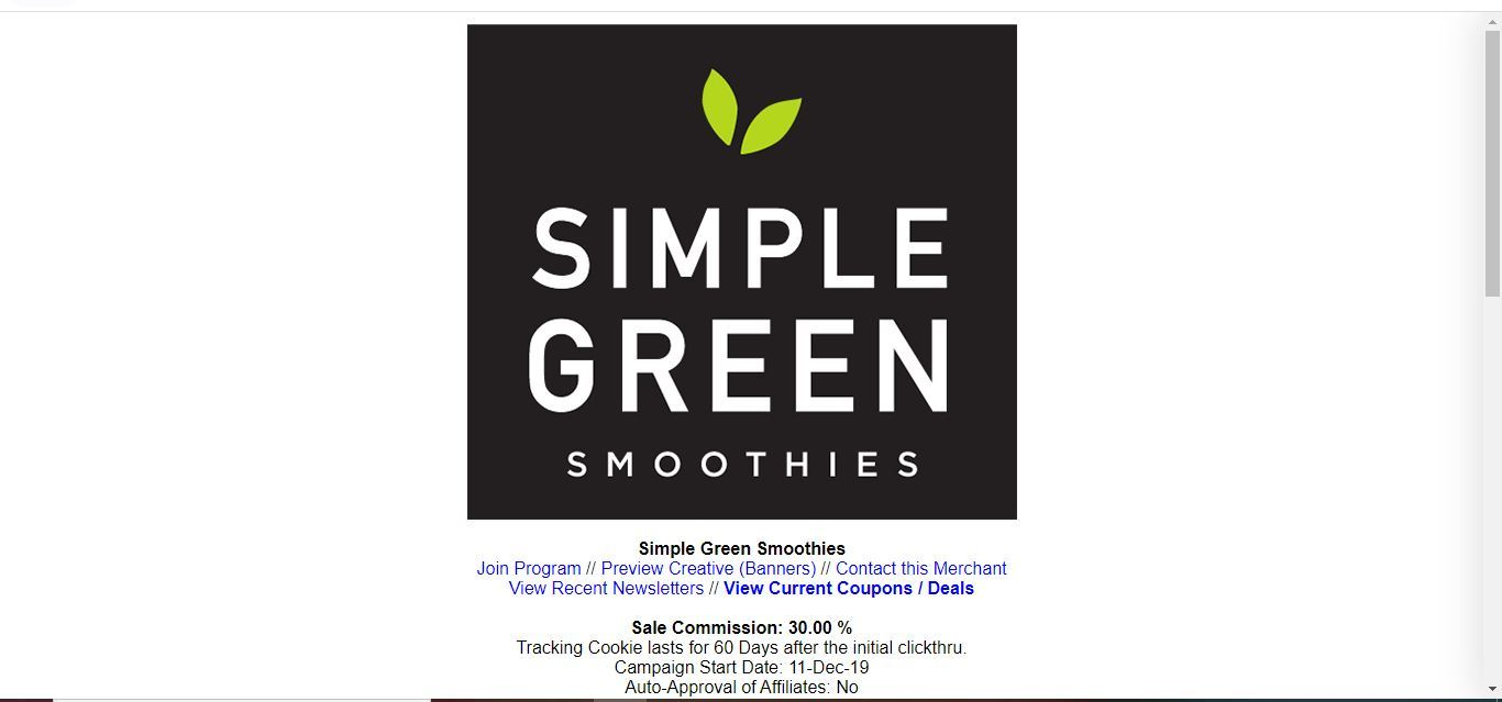 simple green smoothies affiliate