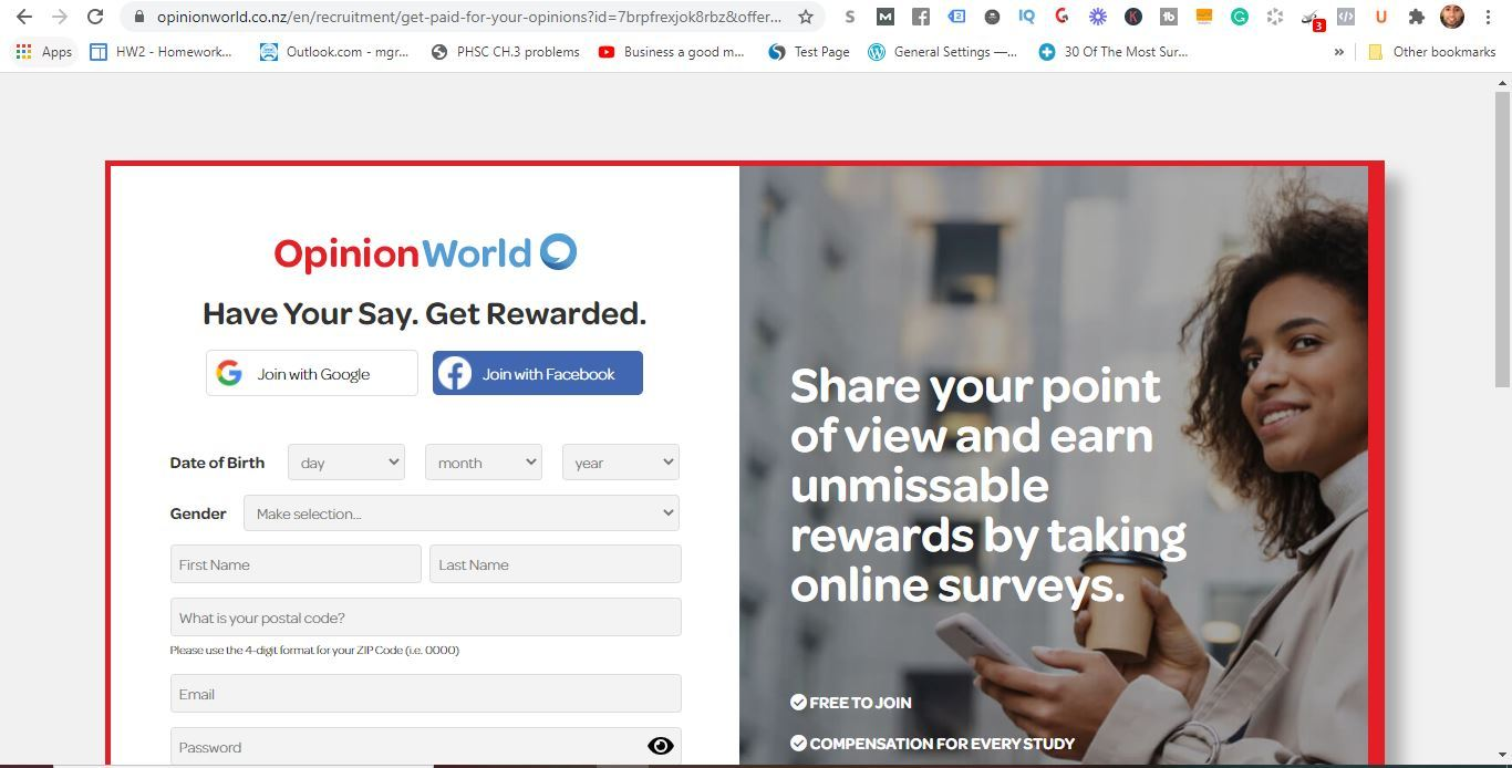 opinion world free sign up