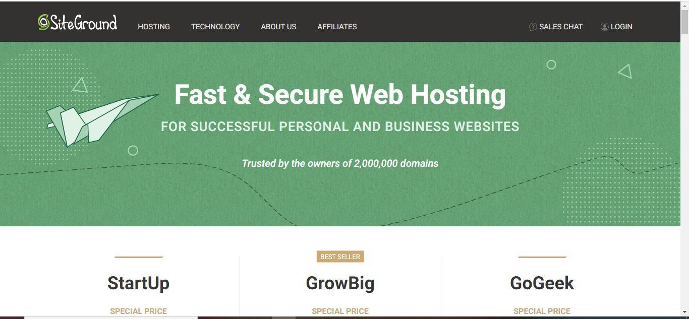 siteground web hosting page