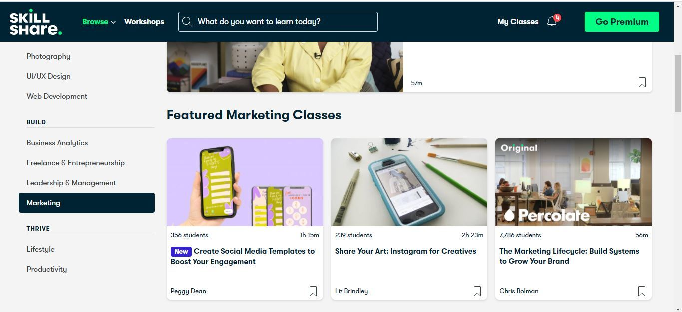 skillshare featured marketing classes