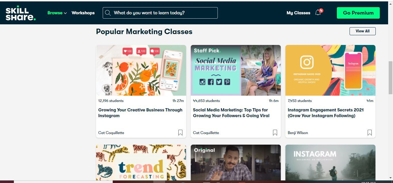 skillshare popular marketing classes