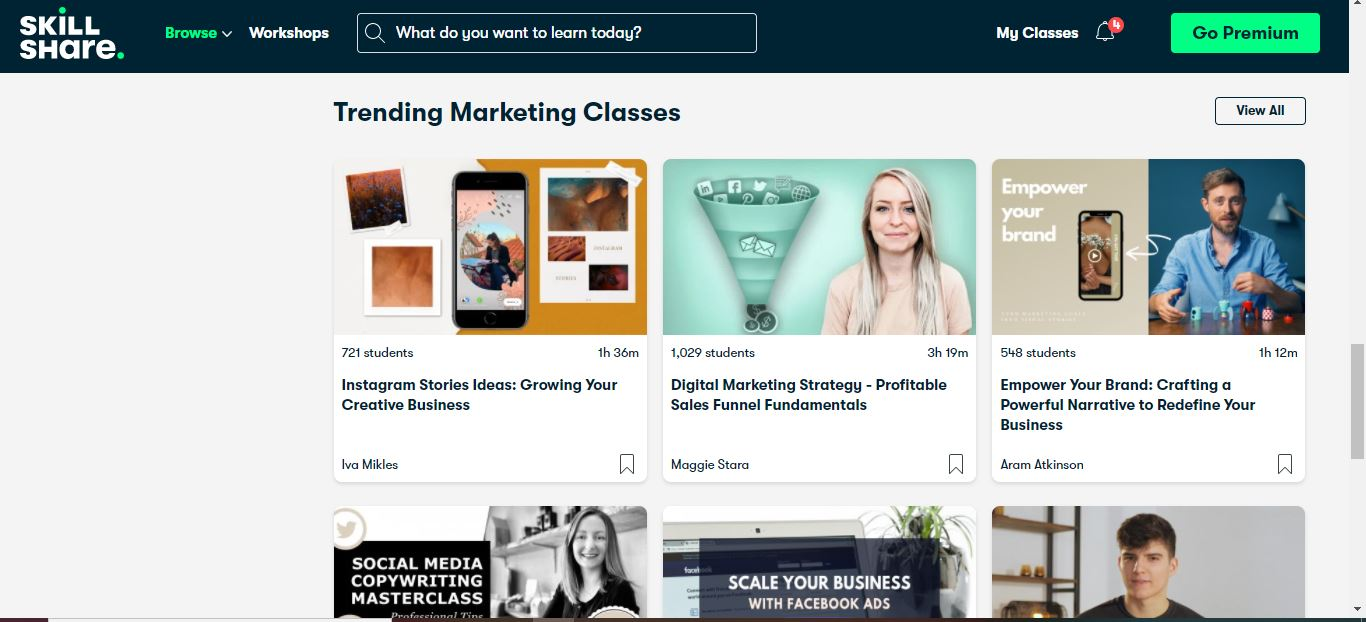 skillshare trending marketing classes