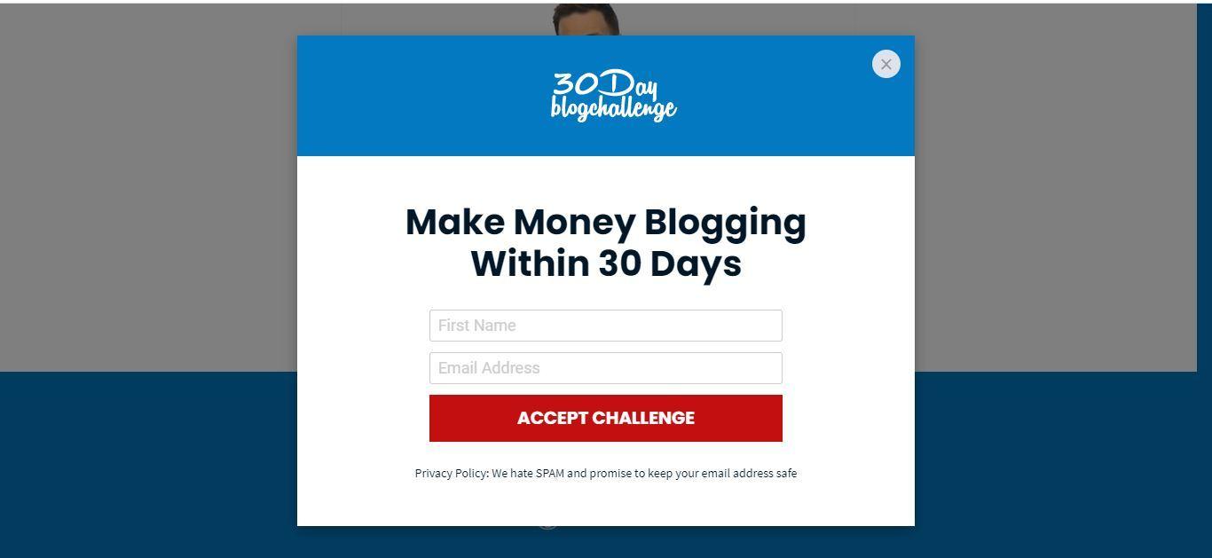 30 day blogging challenge enter email