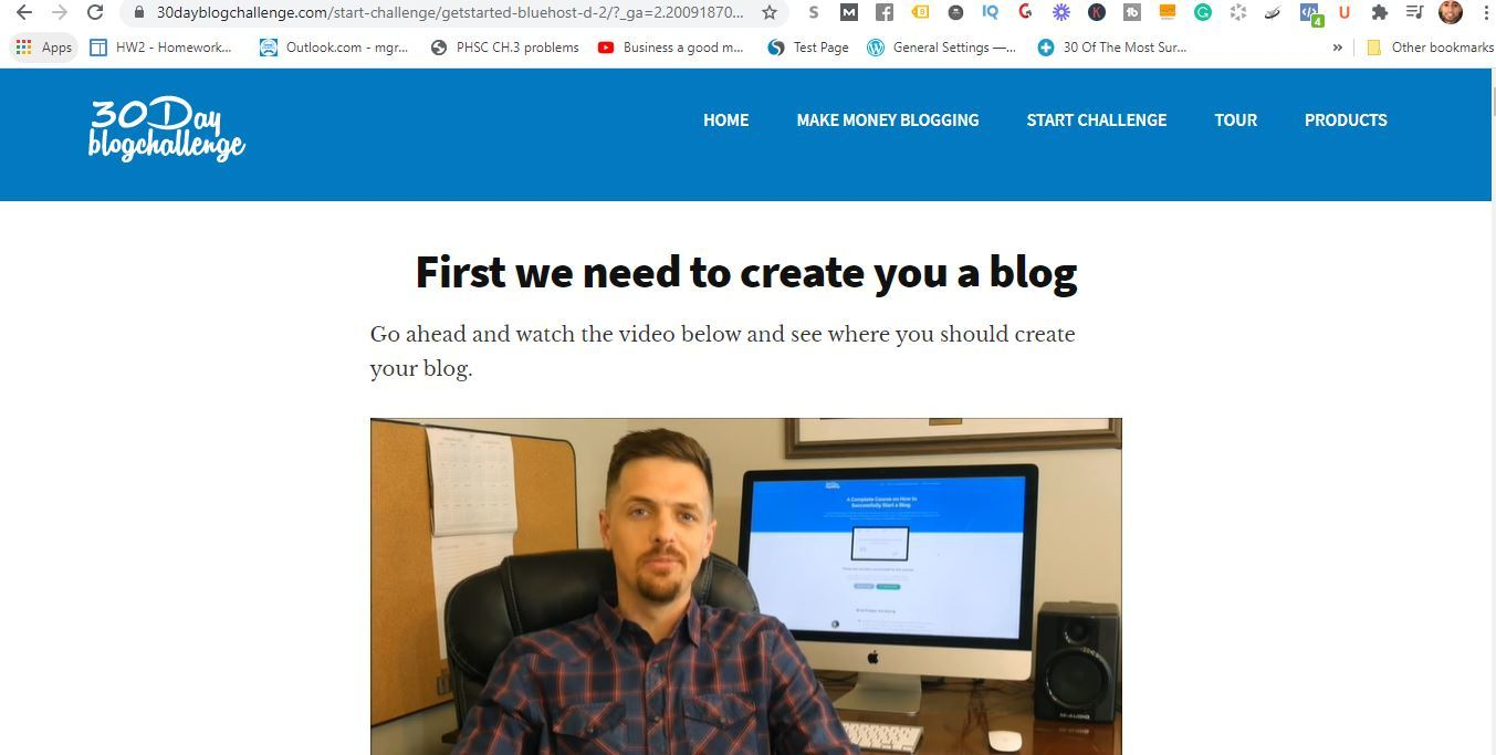30 day challenge create a blog
