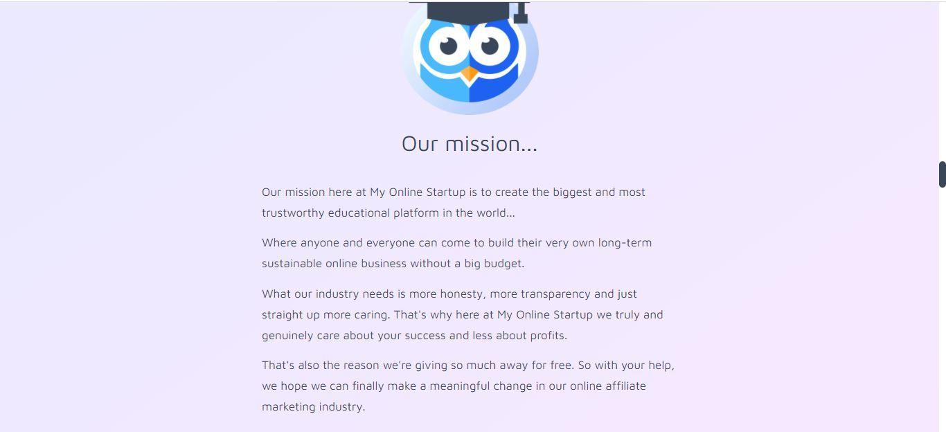 my online startup mission statement